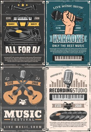 Musical instruments, microphone and sound equipment vector design of music themes. Guitars, drums and headphones, vinyl records, DJ player and equalizer sound wave. Festival, studio, karaoke posters
