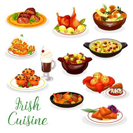 Diseño vectorial de la cocina de Irlanda con platos irlandeses de café, carne y pescado. Guisos de verduras con conejo y cordero, salmón al horno, crepe de patatas y ensalada de col lombarda, rollito de ternera, pan de soda, cupcake de frutos rojos