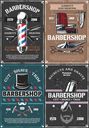 Barbershop vector design, haircut and shaving of hair, beard and mustache. Barber shop vintage pole, chair and straight razor, scissors, brush and clipper, comb and trimmer. Hipster salon retro poster