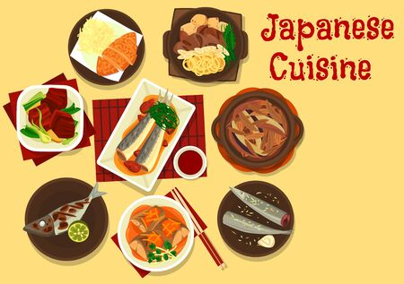 Japanese cuisine vector design of Asian fish, meat and vegetable meal. Beef stew with noodles, tofu and onion, beef baked in soy sauce with eggs, fried pork, steak with cabbage, mackerel in miso sauce