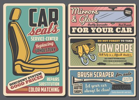 Car spare parts and auto accessories shop vector design. Car seat upholstery repair and replacement service, towing belts, rear view mirror and windshield ice scraper with snow brush retro posters