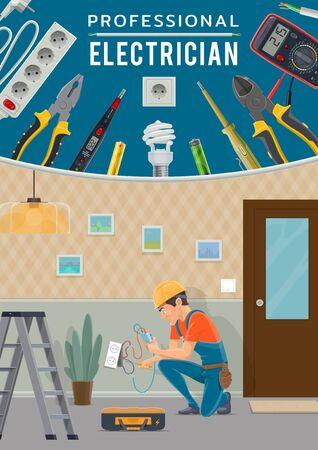 Electrical service vector design with electrician, electric work tools and power equipment. Wireman repairing socket with electricity tester, screwdriver and light bulb, battery, voltmeter and pliers