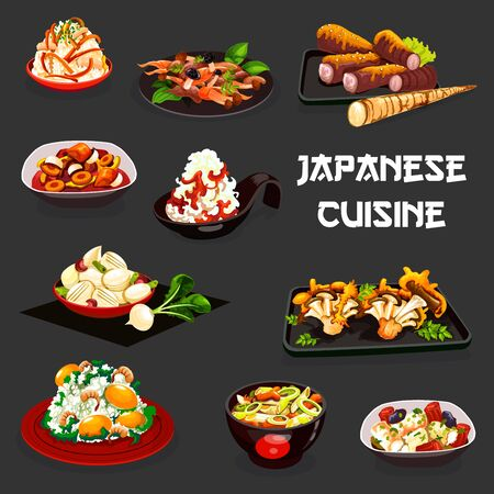 Japanese cuisine vegetable and meat dishes. Vector rice with shrimp and ginkgo seeds, salads of radish, carrot and turnip with soy sauce, pork daicon and scallops leek stews, mushroom and miso beef Illustration