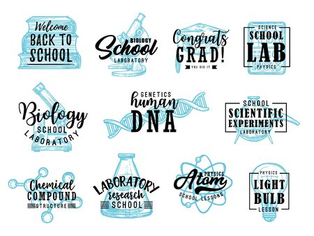 Back to School lettering icons with education supplies of chemistry, physics, mathematics and biology sciences. Books, microscope, laboratory glass and light bulb, DNA, atom, molecule model sketches