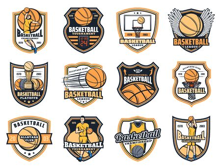 Basketball sport icons with vector balls, players and winner trophy cups, basket, hoop and scoreboard, uniform jersey and wings. Basketball club or team heraldic badges design