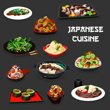 Japanese cuisine vegetable sushi, noodle and rice dishes with fish and meat. Vector salads with cucumber, eel and green peppers, bean and scallops, baked mackerel, beef stew with tofu and pumpkin Illustration