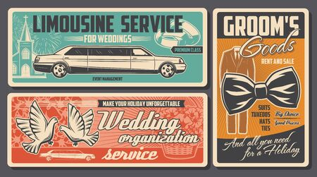 Wedding ceremony vector banners of love couple rings, bride dress and groom suit, bridal bouquet, church and limousine car, dove birds, bow tie and floral basket. Wedding, engagement, marriage design