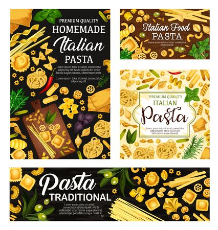 Italian pasta, spaghetti and macaroni with herbs and olives vector design. Penne, farfalle and fusilli, conchiglie, fettuccine and lasagna, ravioli, linguine and noodles with basil and rosemary