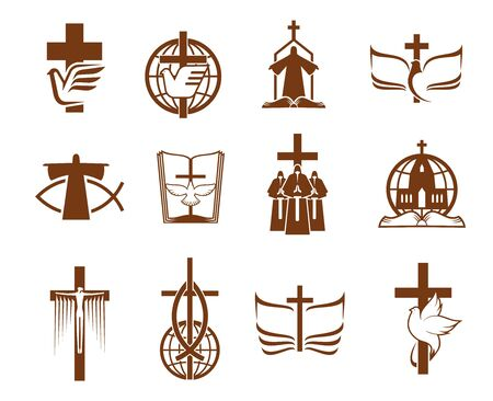 Jesus on cross, God Bible and dove vector icons of Christian religion. Religious prayers, priest and globes, angel, holy book and church, crucifix, praying hand and fish symbols of Christianity