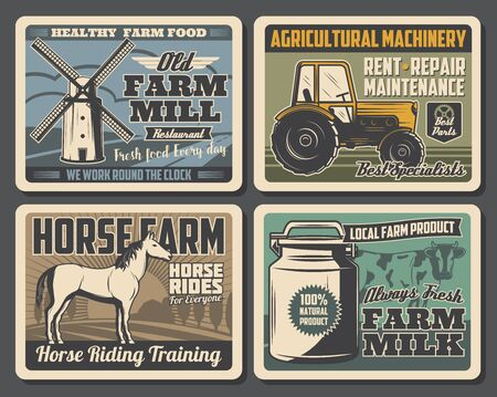 Farm and agriculture vector design with cow, horse and milk can, tractor, harvest field and windmill. Cattle and dairy farm, horseback riding ranch and agricultural machinery retro posters