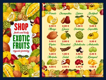 Exotic fruit shop menu with tropical berries vector frame. Mango, pomelo and quince, jackfruit, guava and cherimoya, tamarind, salak and kumquat, jabuticaba, ackee and salak with price list template Illustration
