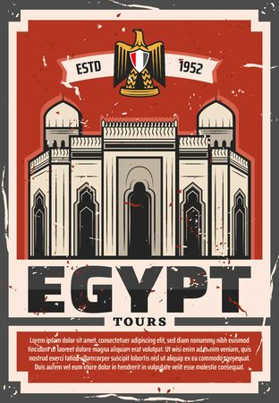 Travel to Egypt vector design of ancient Egyptian mosque in Alexandria and heraldic symbol of golden eagle and ribbon banner. Architectural travel landmarks of ancient Egypt, tourism themes