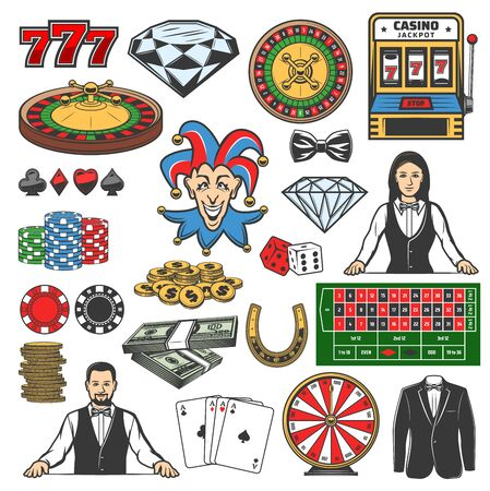 Casino icons of gambling games vector design. Roulette, dice and chips, playing cards, poker and black jack table, slot machine, fortune wheel and money, jackpot 777, croupier, joker and diamond