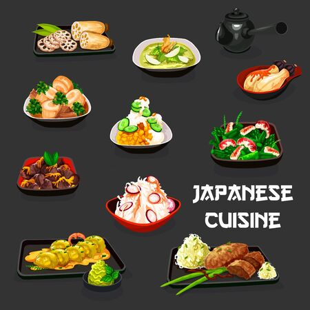 Japanese cuisine vector design of meat, vegetable and seafood stews with chicken giblets, eggplant, miso and sesame sauce, asparagus and shrimp, daikon and cabbage salads with pork and lotus root
