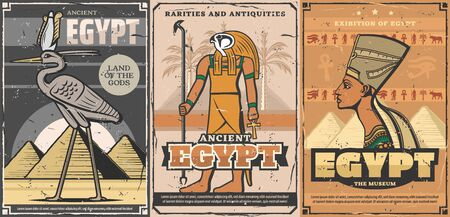 Ancient Egypt, Egyptian travel landmark and tourism vector design. Horus god, Nefertiti queen and bennu or phoenix bird, Giza pyramids, Ankh symbol and eye of Horus hieroglyphs, sacred bull and palm