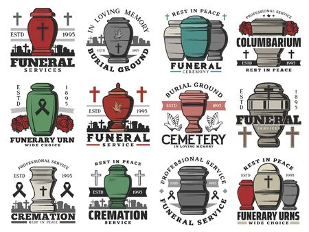 Funeral service icons with vector urns of cremation ceremony. Burial and interment religious rituals, cemetery, cross tombstones and grave, memorial flower wreath, dove birds and black ribbons