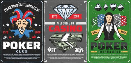 Poker tournament, gambling game club and casino betting vector design. Casino dice, chips and playing cards, poker table, croupier, money, joker and diamond retro posters