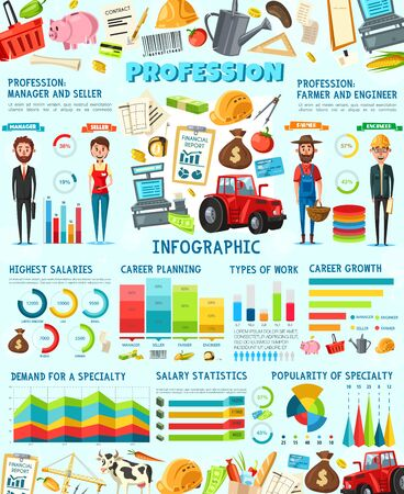Professions infographic of farmer, construction engineer, seller and manager occupations. Vector graphs and charts with farm tractor, cash register and financial report, money bag, ruler and money bag Ilustração