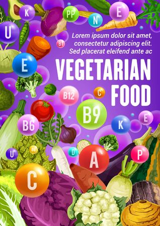Vegetables and beans reach of vitamins and minerals vector design of health food benefits. Tomato, broccoli and cabbage, onion, radish and zucchini, cauliflower, carrot and pea, vegetarian nutrition