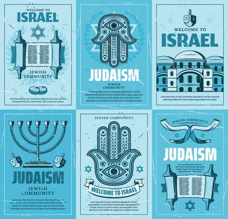 Israel and judaism religion vector design, jewish religious symbols. Star of David, menorah and torah, hebrew amulet of hamsa hand, Jerusalem, dreidel and Israeli shofar, hanukkah donut or sufganiyot