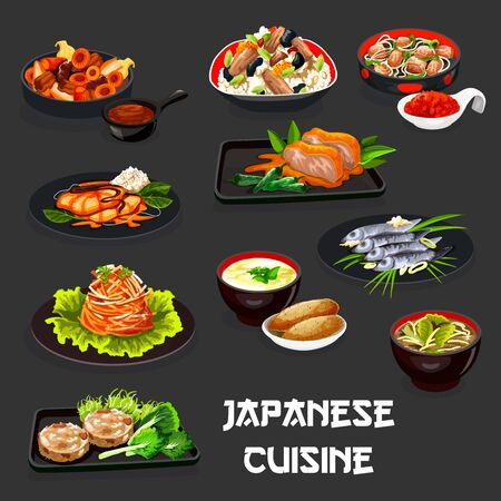 Japanese cuisine meat dishes with baked fish and asian vegetables. Vector chicken rice with eggs and seaweed, fried chicken with peppers, pork in ginger sauce, mushroom miso soup, potato, yam dip Illustration