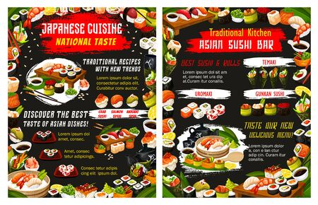 Japanese sushi bar menu with rice, fish and seafood vector design of Asian restaurant. Salmon and tuna rolls, shrimp seaweed temaki and avocado uramaki, prawn and crab nigiri, chopsticks and sauces Иллюстрация
