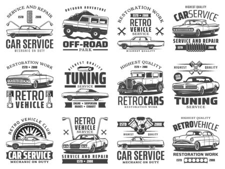 Retro car icons of auto repair, tuning and restoration service vector design. Vintage vehicle wheels, tires and engine spare parts, pistons, wrenches and spanners, shock absorbers and cylinder gaskets