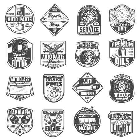 Car service and auto repair store badges with vector spare parts. Wheel tire, vehicle engine and motor oil, wrench, spanner and spark plugs, piston, exhaust and speedometer, brakes and alarm keys