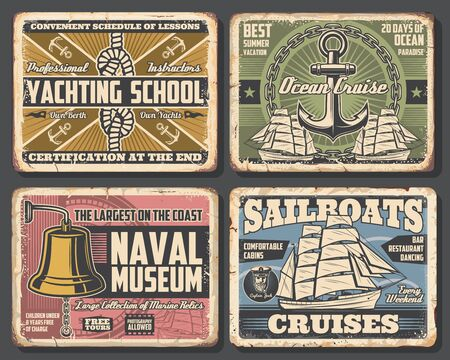 Nautical vector design of anchors, chains and ocean ship rope, sailboat, compass and marine sailor knot, sea captain cap and bell. Rusty metal signboards of yachting school, naval museum, ocean cruise 일러스트