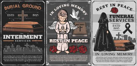 Funeral ceremony of burial, cremation and interment service vector poster. Vintage cemetery with coffin, tombstone crosses and death grave, angel, bible and flower wreath, widow, black ribbon and dove