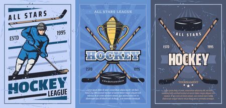 Ice hockey player on sport rink with sticks, pucks and trophy vector design. Forward with skates, uniform helmet and golden winner cup. Hockey championship league match retro posters