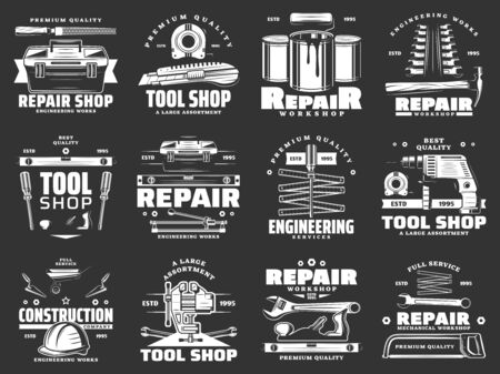Tools of construction, repair, carpentry and interior design vector icons. Hammer, screwdriver and toolbox, drill, paint and roller, wrench, spanner and tape measure, ruler, trowel monochrome symbols Illusztráció