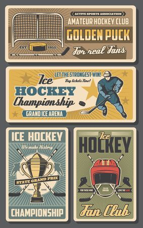 Ice hockey sport team players vector design with sticks, pucks and winner trophy cup, rink, skates and goalie mask, goal gate, forward uniform and helmet. Championship match, sport club retro posters