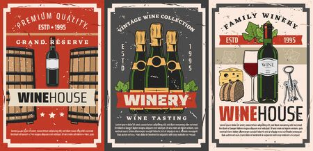 Winery bottles of wine and champagne drinks retro posters of wine shop vector design. Wine glasses, barrels and grape vine, corkscrew, snack food of cheese and bread. Winehouse alcohol beverages theme