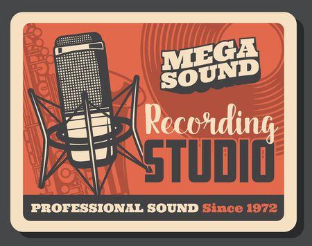 Instrumento musical de estudio de grabación de música y cartel retro de equipo de sonido. Micrófono de vector, disco de vinilo y saxofón. Diseño de la industria del entretenimiento y la producción de medios