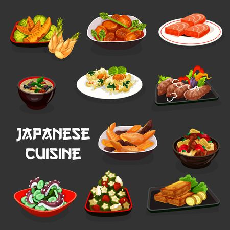 Japanese cuisine meal vector design of Asian dishes. Seafood salads with octopus, tuna, okra and cucumber, fish soup, deep fried marlin and shrimp, radish pork, potato and chicken bamboo stews