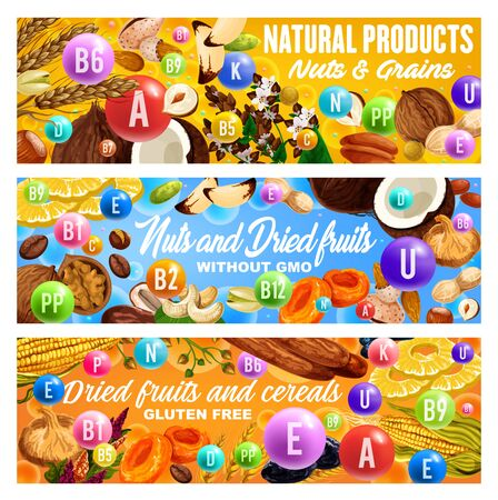 Vitamins in nuts, dried fruits, grains and cereals. Vector raisins, almond and dates, peanut, pineapple and prune, hazelnut, apricot and fig, walnut, coconut and pistachio, cashew, buckwheat and wheat