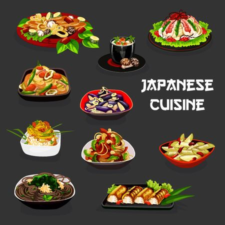 Japanese cuisine soba and udon noodles with mushroom, vegetables and beans, seaweed and caviar vector design. Shrimp sushi, baked fish and cream soup, onion and eggplant salads with marinated plums
