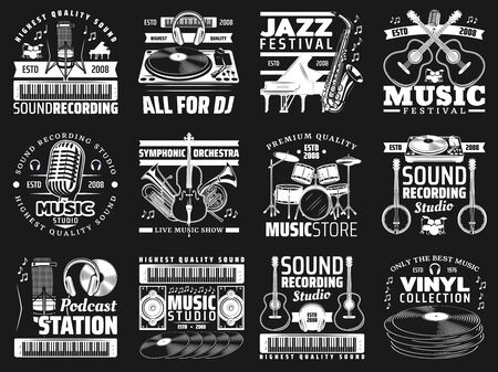 Musical instrument and sound recording studio equipment vector icons of music design. Piano, guitar and vinyl record player, microphone, drum and headphones, saxophone, violin and musical notes badges