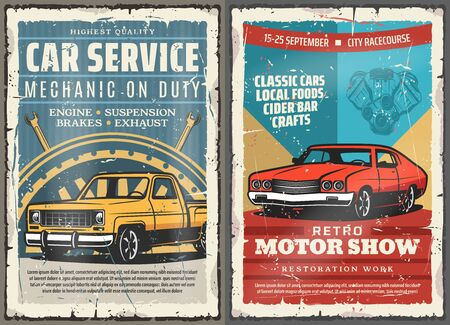 Vintage car rusty metal signboards of auto repair service, motor show and mechanic garage vector design. Vehicle engine, spare parts and wheel, brakes, exhaust and spanner, wrench and mechanical tool