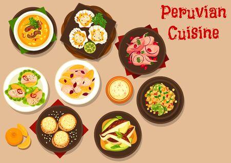 Conception vectorielle de cuisine péruvienne de ceviche de fruits de mer avec flet, bar et pétoncles, dorado et pamplemousse. Soupe de bœuf au maïs, croquettes de pommes de terre aux crevettes et salade de quinoa, cocktail de fruits et biscuit