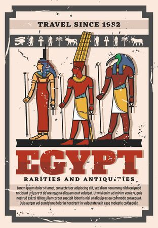 Gods and goddess of Ancient Egypt, Egyptian travel landmark and tourism vector design. Isis, Amun and Thoth with symbols of Ankh, eye of Horus and Anubis, palm and bull hieroglyphs Illusztráció