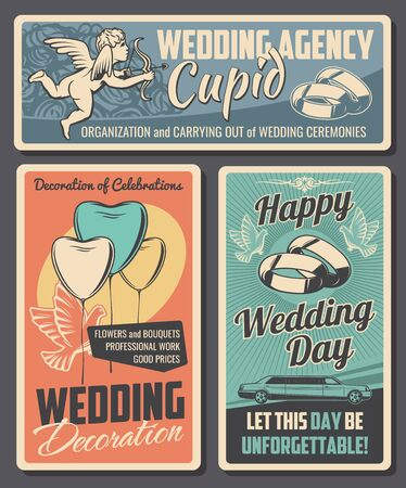 Wedding ceremony vector cards of bride and groom marriage celebration. Love couple engagement rings, bridal bouquet of roses and heart shaped balloons, limousine, Cupid, arrow. Wedding agency design Illusztráció