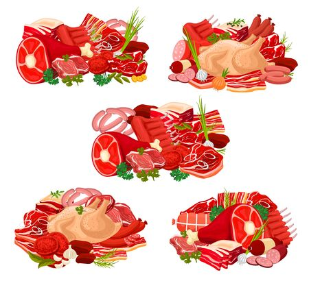 Meat and sausage with spice and herb icons of beef, pork and chicken meat food vector design. Steaks, salami, ham and bacon, lamb ribs and turkey, barbecue burger and frankfurters, parsley and pepper Illusztráció