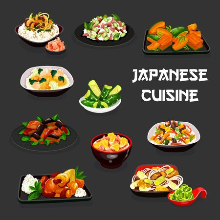 Japanese cuisine vegetable dishes with meat and fish vector design. Rice with salmon and mushroom, egg noodles, pork potato, beef and pumpkin stews, cabbage and cucumber salads, eggplant in miso sauce