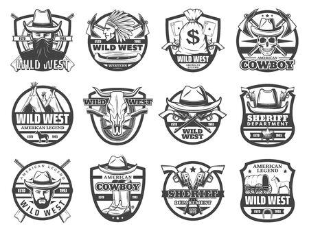 Iconos vectoriales del salvaje oeste de vaquero, sheriff y calavera, sombreros occidentales estadounidenses, pistolas y insignia de estrella de guardabosques, caballo, carro vintage y jefe indio, revólveres, bandana y rifles. Temas de historia de Estados Unidos