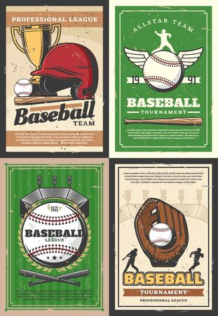 Baseball sport league tournament match retro posters with vector players, balls, bats and trophy. Stadium play field, catcher glove and pitcher helmet, home base plate and golden winner cup