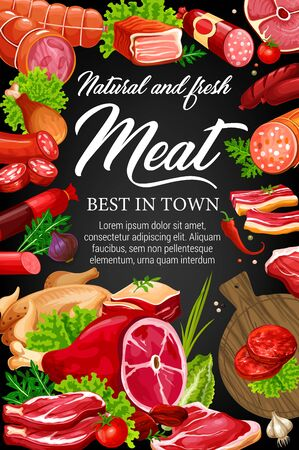 Meat food, spices, herbs and salad leaves on blackboard vector design. Beef and pork sausages, salami, ham and bacon, chicken, barbecue burger and smoked frankfurter, lettuce, chilli pepper, arugula