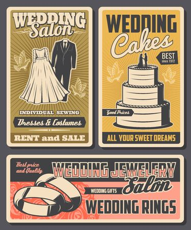 Wedding salon vector design with marriage ceremony bride dress and groom suit, engagement rings and wedding cake with bridal bouquet of rose flowers and flying dove birds. Wedding service posters