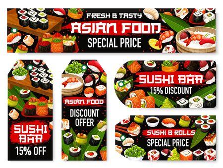 Japanese sushi rolls and nigiri sale tags with discount price special offer of Asian cuisine restaurant. Vector salmon, rice and tuna fish maki, shrimp seafood uramaki and seaweed avocado hosomaki 일러스트